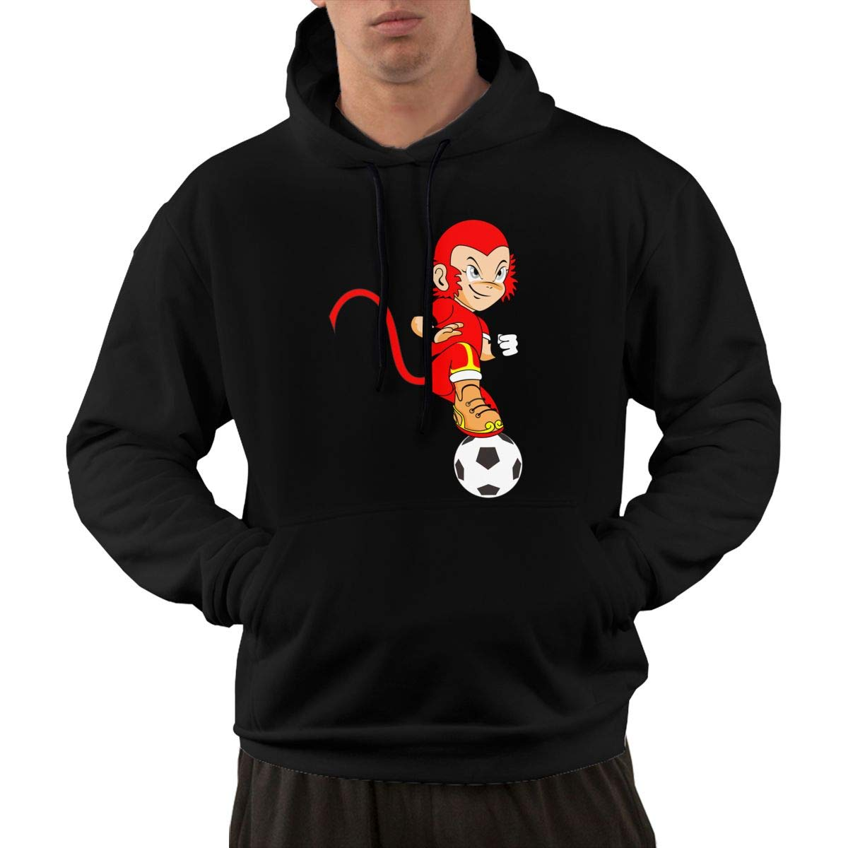 The Red Monkey Play Football Hoodie Mens Autum Winter Casual Workout Graphic Hoodie Hooded Sweatshirt with Front Pocket