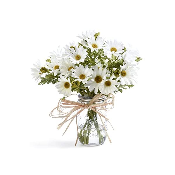 Petals – Farmhouse Daisies Silk Arrangement – Handcrafted – Amazingly Lifelike – 12 x 11 Inches (White)