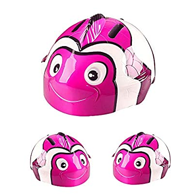 Toddler Kids Bike Helmet Adorable 3D Cartoon Cute Light Weight Animal Helmet Safety Bicycle Cycling Child Helmets CPSC Certified Warning Rear LED Light Skating Bike Gifts for Kids 3-8 Pink Clownfish : Sports & Outdoors