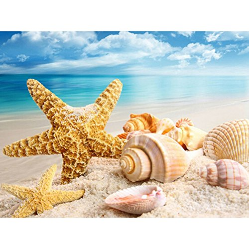 Diamond Painting Full Square 5D Diy Drill Seastar Seashell Sea Beach Sand Rhinestone Embroidery Arts Craft Paint By Number Kits Cross Stitch For Home Wall Decoration 12X12 Inches  Seastar Shell
