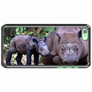 iPhone 5C Black Hardshell Case sumatran rhino cub pair Desin Images Protector Back Cover