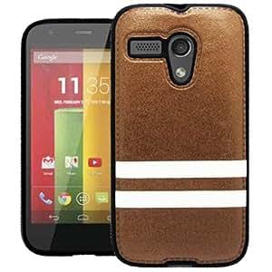 GizmoDorks Hybrid PU Leather TPU Skin Case Cover for the Motorola Moto G, Brown White