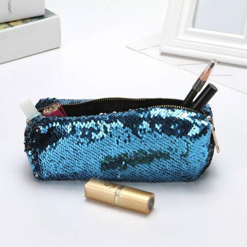 (Unisex Fashion Double Color Sequins Handbag Cosmetic Bag Makeup Pouch (Color - Sky Blue) )