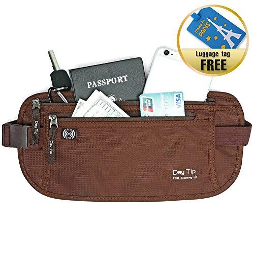 Day Tip Money Belt - Passport Holder Secure Hidden Travel Wa