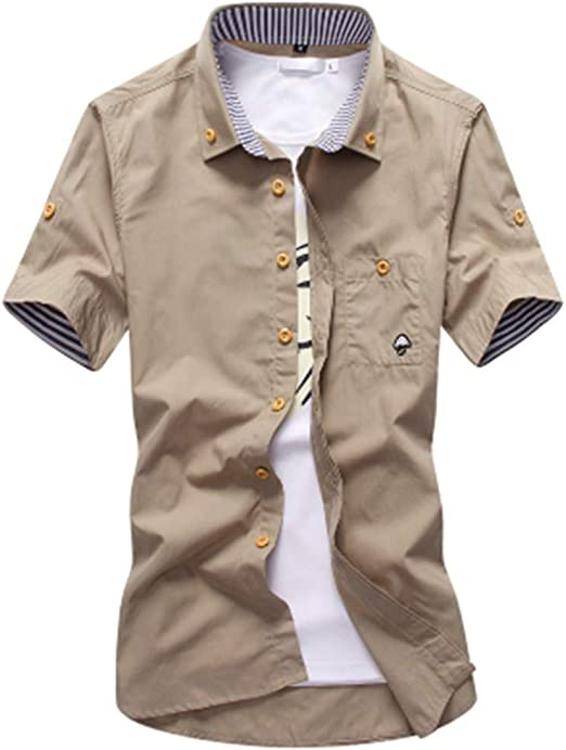 NSSY Camisa de Hombre Hombres Camisas Mushroon Bordado para Hombre Camisas de Vestir Slim Fit Summer Social Manga Corta Camisa de los Hombres, XXL: Amazon.es: Hogar