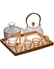 Japanese Style Glass Sake Jug, Wine Set,Heated Hot Jug, Household Liquor Glass, Hammered Craft Japanese Style,The Best Gift for Family and Friends