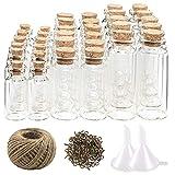 CUCUMI 44pcs Mini Glass Jars Bottles with Cork Stoppers Wish Bottles(20pcs 5ml and 12pcs 10ml and 12pcs 20ml),50pcs Eye Screws,30 Meters Twine and 2pcs Funnel