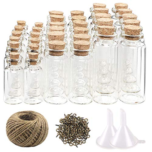 CUCUMI 44pcs Mini Glass Jars Bottles with Cork Stoppers Wish Bottles(20pcs 5ml and 12pcs 10ml and 12pcs 20ml),50pcs Eye Screws,30 Meters Twine and 2pcs Funnel -