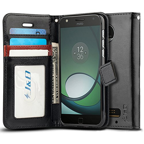 J&D Moto Z Play Droid Case, [Wallet Stand] [Slim Fit] Heavy Duty Protective Shock Resistant Flip Cover Wallet Case for Motorola Moto Z Play Droid - [Not for Moto Z2 Play and Moto Z3 Play] - Black