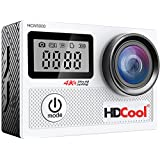 HDCool 20MP Action Camera 170 Degree Ultra Wide-Angle Lens Waterproof Sports Camera, 2.0 Inch LCD Display with 0.96 Inch Front Screen, Included 2 Rechargeable 1050mah Batteries