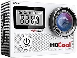 hdcool hcn50004K Wifi Action Camera con 170gradi obiettivo ultra grandangolare impermeabile macchina fotografica di sport, 2,0pollici LCD Display con 0,96pollici parabrezza, include 2Batterie