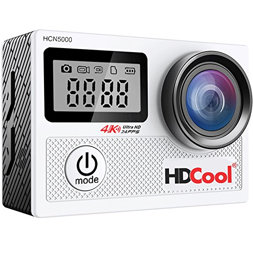 HDCool HCN5000 4K Wi Fi Action Camera 170 Degree Ultra Wide Angle Lens Waterproof Sport Camera 20 Inch LCD Display with 096 Inch Front Screen Include 2 Rechargeable 1050 mAh Batteries