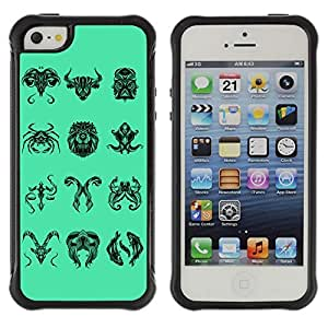 Hybrid Anti-Shock Defend Case for Apple iPhone 5 5S / Unique Zodiac Signs Collection