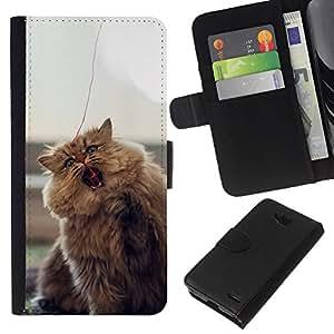 iBinBang / Flip Funda de Cuero Case Cover - Carino pelliccia Fluffy Cat - LG OPTIMUS L90
