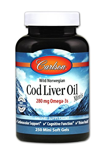 Carlson - Cod Liver Oil Minis, 280 mg Omega-3s, Cardiovascular & Vision Health, Cognitive Function, 250 mini soft gels