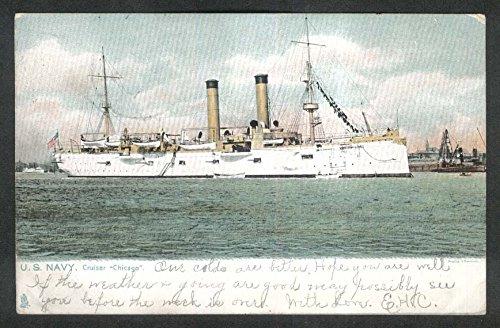 US Navy Cruiser Chicago undivided back postcard 1900