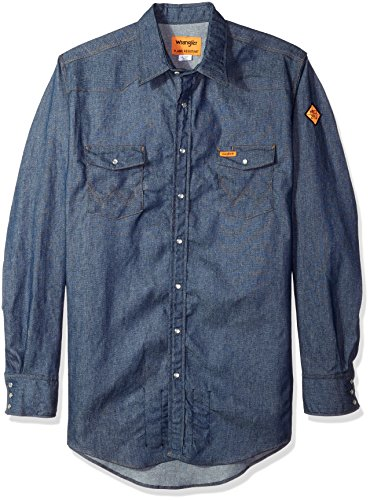 Wrangler Men's Big & Tall Flame Resistant Western Two Pocket Snap Shirt, Denim, XLT