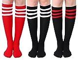 Joulli Women's Casual Stripe Knee High Socks 3 Pairs, Black Mix