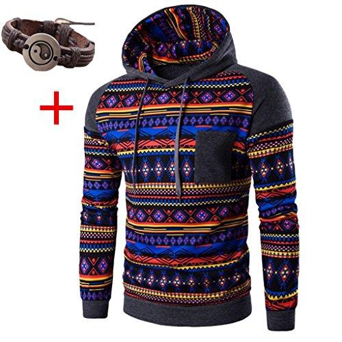 WOCACHI Herren Kapuzenpullover Männer Bohemian Retro Langarm-Kapuzenshirt mit Kapuze Sweatshirt Tops Jacken-Mantel Outwear Dunkelgrau (S, Dunkelgrau)