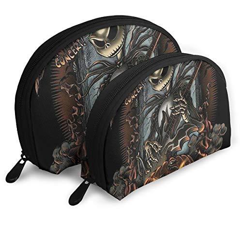 (JINUNNU Makeup Bag Jack Skellington Cosmetic Pouch Clutch Portable Bags Handbag Organizer with Zipper)
