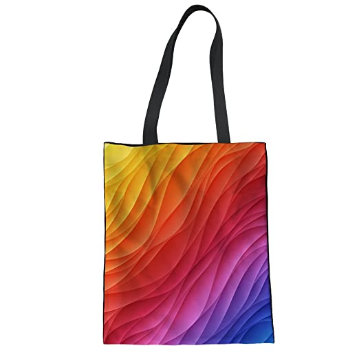 9a770b4c70bc Amazon.com  Coloranimal Colorful Linen Tote Hand Bag for Teens Girls ...