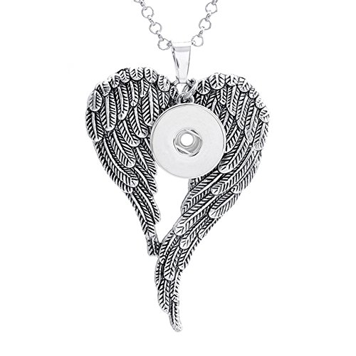 ZARABE 18MM Snap Button Angel Wings Heart Charm Pendant For DIY Jewelry ()