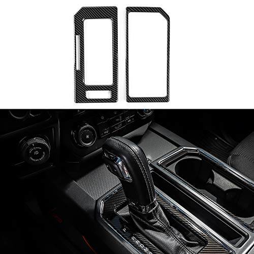 Voodonala Carbon Fiber Grain Cab Gear Shift and Cup Holder Trim Sheet Kit Interior Accessories for Ford F150 2016 2017 2018
