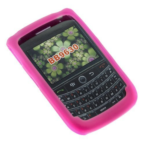 Hot Pink Durable Soft Rubber Silicone Skin Case for BlackBerry 9630 Tour Smartphone