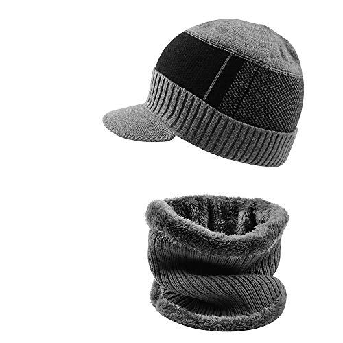 XIAOHAWANG 2-Pieces Winter Hat Scarf Set Knit Cable Visor Beanie Warm Scarves Fleece Lining Patchwork Stripe Newsboy Cap with Brim for Outdoor Sport(Grey)