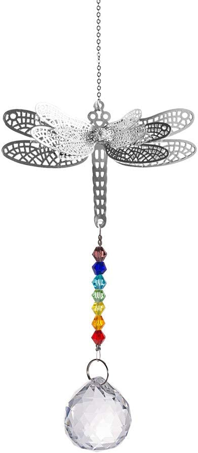 WEISIPU Crystals Ball Prisms Suncatchers - Hanging Ornament Crystals Dragonfly Suncatchers with Clear Crystal Ball for Garden Decoration, Car Pendant, Christmas Decoration (Dragonfly) …