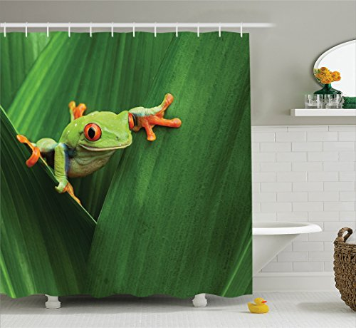 Ambesonne Animal Decor Shower Curtain Set, Cute Red Eyed Frog Between Exotic Macro Big Leaves Wild Nature Night Animal Vivid Colors Image, Bathroom Accessories, 69W X 70L Inches, Green