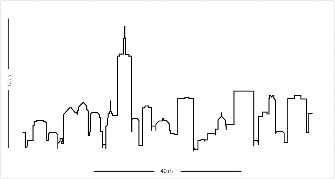 "Fabulous Décor - New York City Skyline NYC Outline Wall Art Premium Vinyl Decal Sticker 17.5"" H X 40"" W"
