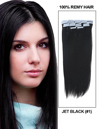 Fohair 24 Inch #1 Jet Black Tape in on Remy Human Hair Extensions Set 40 Pieces 100 Grams 25 Colors Choose Silky Straight