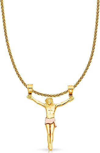 14K Two Tone Gold Jesus Crucifix Cross Charm Pendant with 0.9mm Wheat Chain Necklace