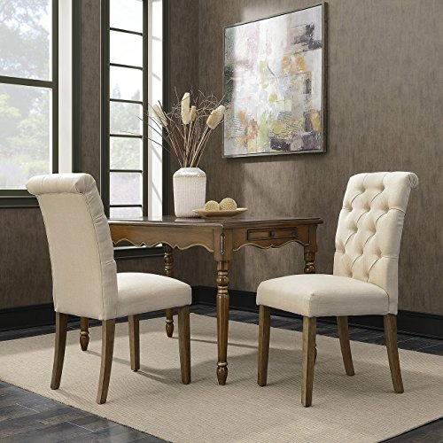 BELLEZE Tufted Dining Chair, Parsons, Linen Fabric, Set of 2, Beige