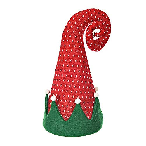 75901e71b4c4c Amazon.com  Red and White Peppermint Striped Christmas Elf Hat Centerpiece  Tree Topper Mantel Holiday Decor (Polka dot)  Home   Kitchen