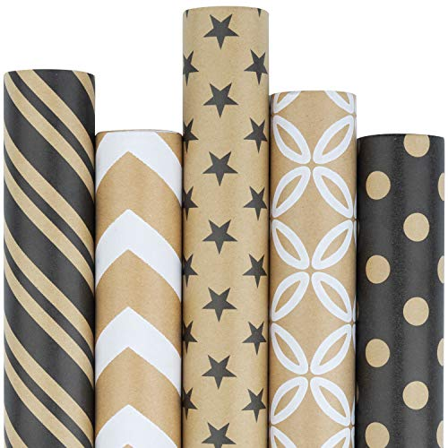 RUSPEPA Kraft Gift Wrapping Paper Roll – Black and White Geometry Patterns Great for Congrats, Holiday and Special Occasion Gifts – 5 Roll – 30Inch X 10Feet Per Roll