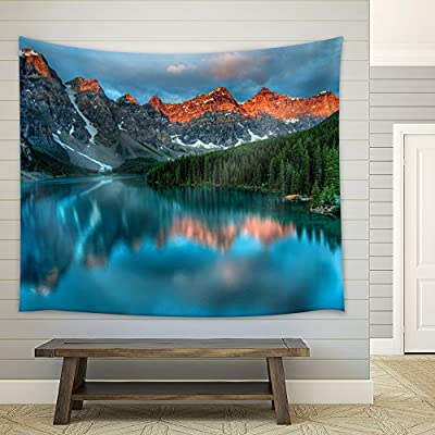 Reflection of Mountains and Pine Trees on a Crystal Clear Lake - Fabric Tapestry, Home Decor - 51x60 inches
