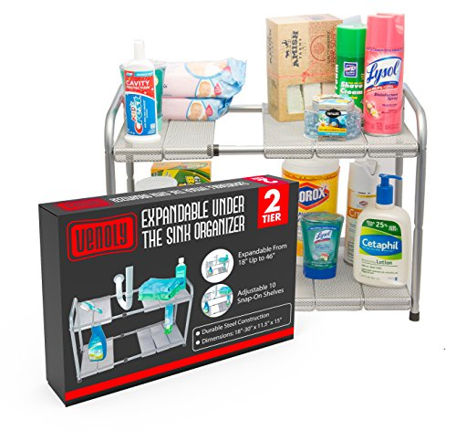 Expandable Under Sink Organizer - 2 Tier Storage Rack With Movable and Customizeable Shelves to Make Space for Pipes - Carbon Steel - By Venoly (Sink Supreme Bathroom)
