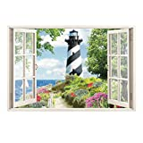 dishwasher cover magnet black - Collections Etc Seaside Nautical Black and White Lighthouse Window Wall Decal, 27