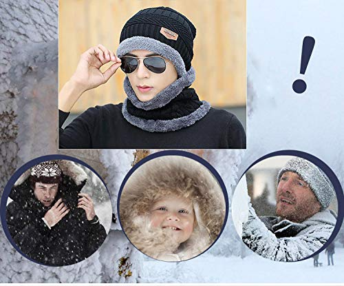 Blevla 2-Pieces Winter Beanie Hat Scarf Set Warm Knit Hat Thick Knit Skull Cap For Men Women Black
