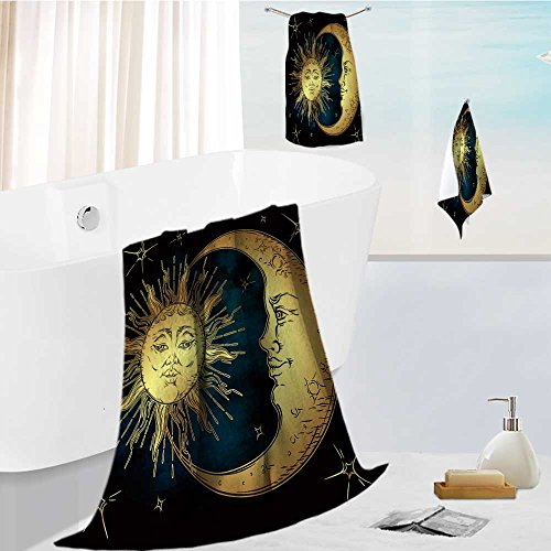 AuraiseHome Hotel Bath Towel Set Antique style hand drawn art golden sun,crescent moon and stars over blue black sky Absorbent and Softness, 19.7