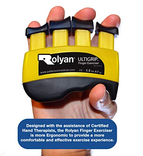 Rolyan Ultigrip Finger Exercisers, Yellow, 1.5-Pounds, Finger & Grip Strengthener for Physical Therapy, Ergonomic Hand Workout Aid, Portable Hand Exerciser for Home, Clinic, Rehabilitation