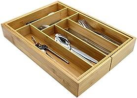 Maison & White Bandeja de cajones de bambú extensible para cubiertos | 6-8 compartimientos ajustables | Resistente al agua | Organizador de madera