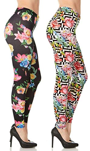 Printed Hosiery - 2 Pack of CARNIVAL Women's Full-Length Printed Soft Microfiber Legging, Floral Set 8, Medium