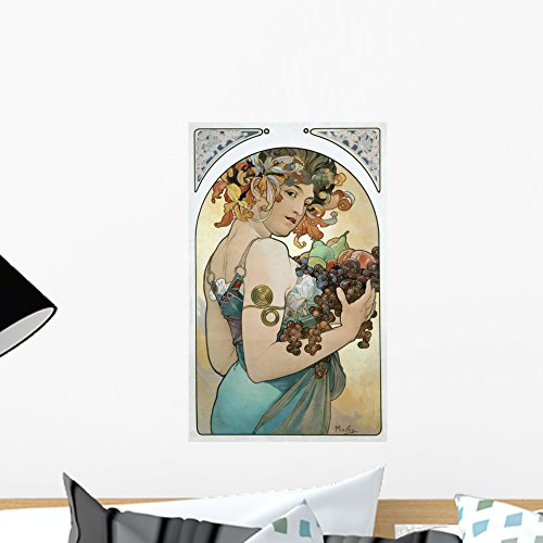 (Wallmonkeys Fruit Alphonse Mucha Wall Decal Peel and Stick Graphic WM144218 (18 in H x 11 in)
