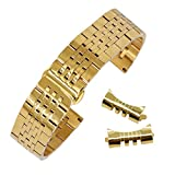 12mm Super Narrow Curved End Solid Stainless Steel Watch Band Gold Replacement Bracelet Straight End