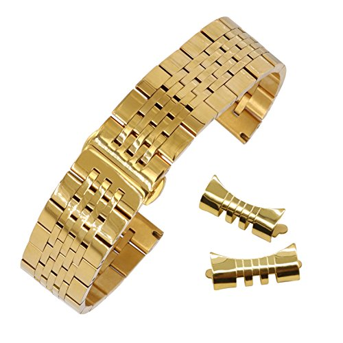 20mm Durable Solid Stainless Steel Watch Bracelet for Men Sport Watch Metal Band Jubilee Style in Gold