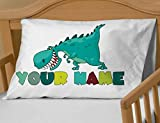 Personalized Cute Dinosaur Boys Pillow Case - ( Toddler - Travel Size 13 x 18 ) Christmas gift Birthday Gift idea for boys kids room decor