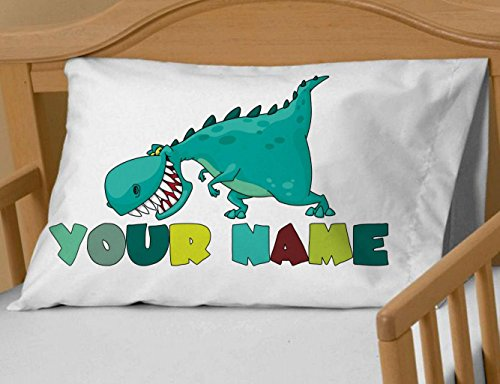 Personalized Cute Dinosaur Boys Pillow Case - ( Toddler - Travel Size 13 x 18 ) Christmas gift Birthday Gift idea for boys kids room (Personalized Gifts For Toddler Boy)